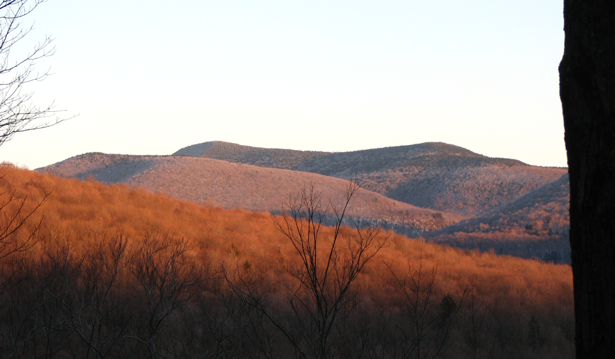 Sunset view of Slide Mountain